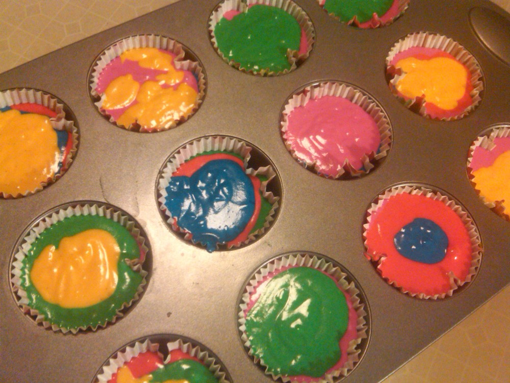 Tie dyed cupcakes