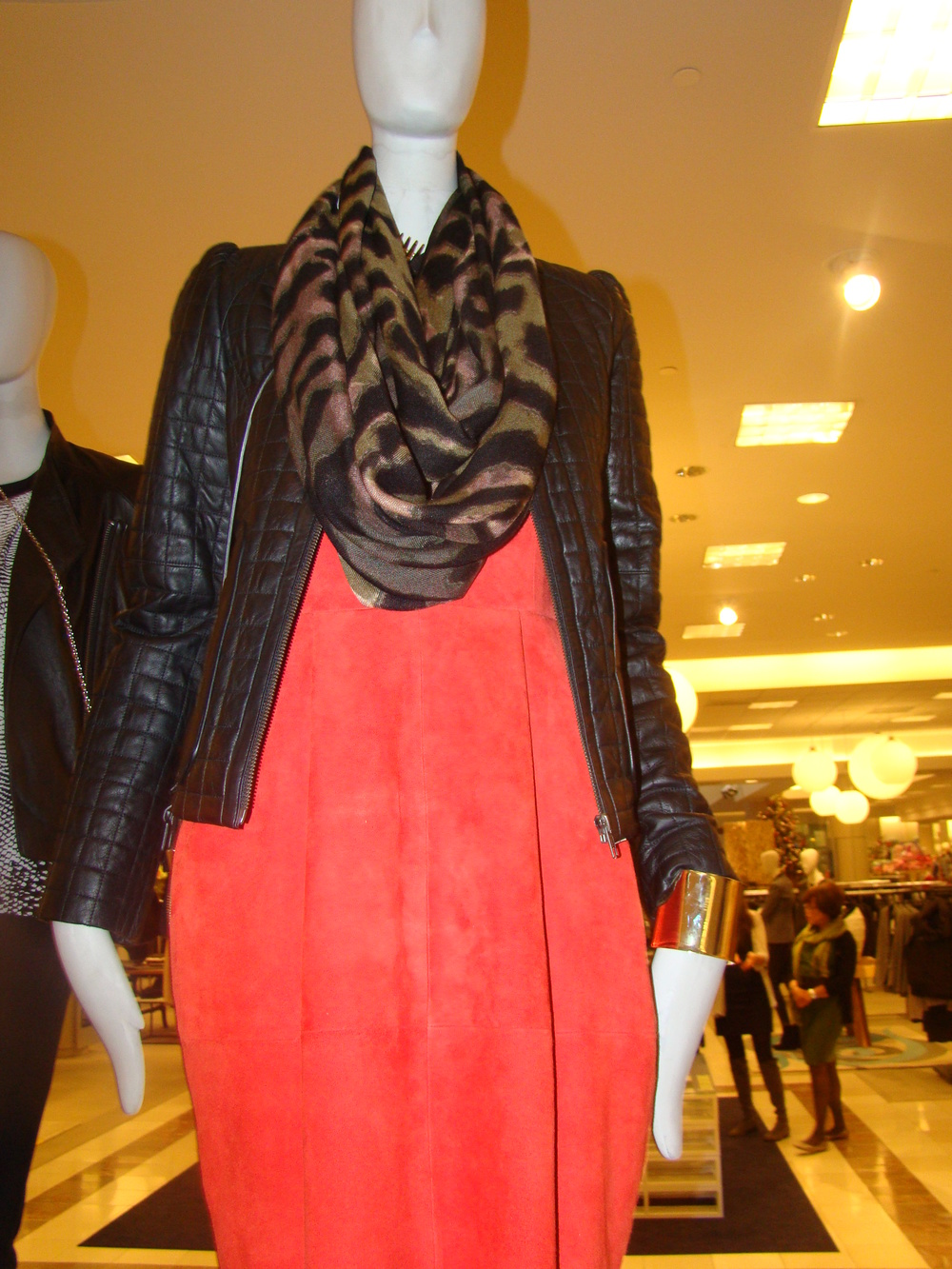 A gorgeous, red dress, Joie Moto jacket and an animal print scarf