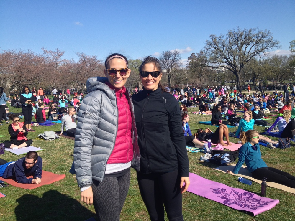 Katie and I ready for Vinyasa with 3000 other yoga lovers