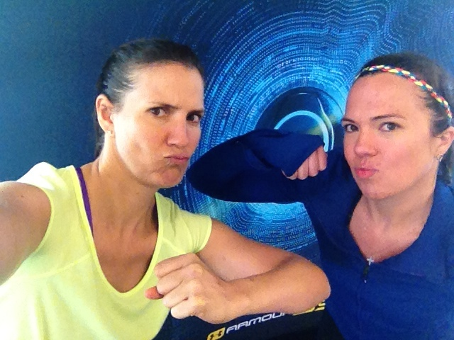 After our workout at the Under Armour facility, Adriana and I put on our serious face.