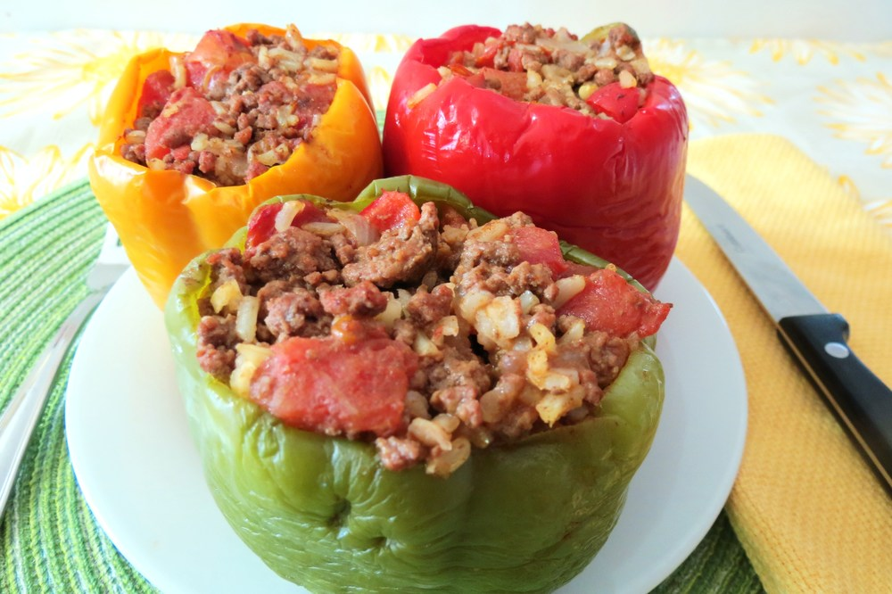 The final product: stuffed peppers; easy for a quick, weeknight meal.