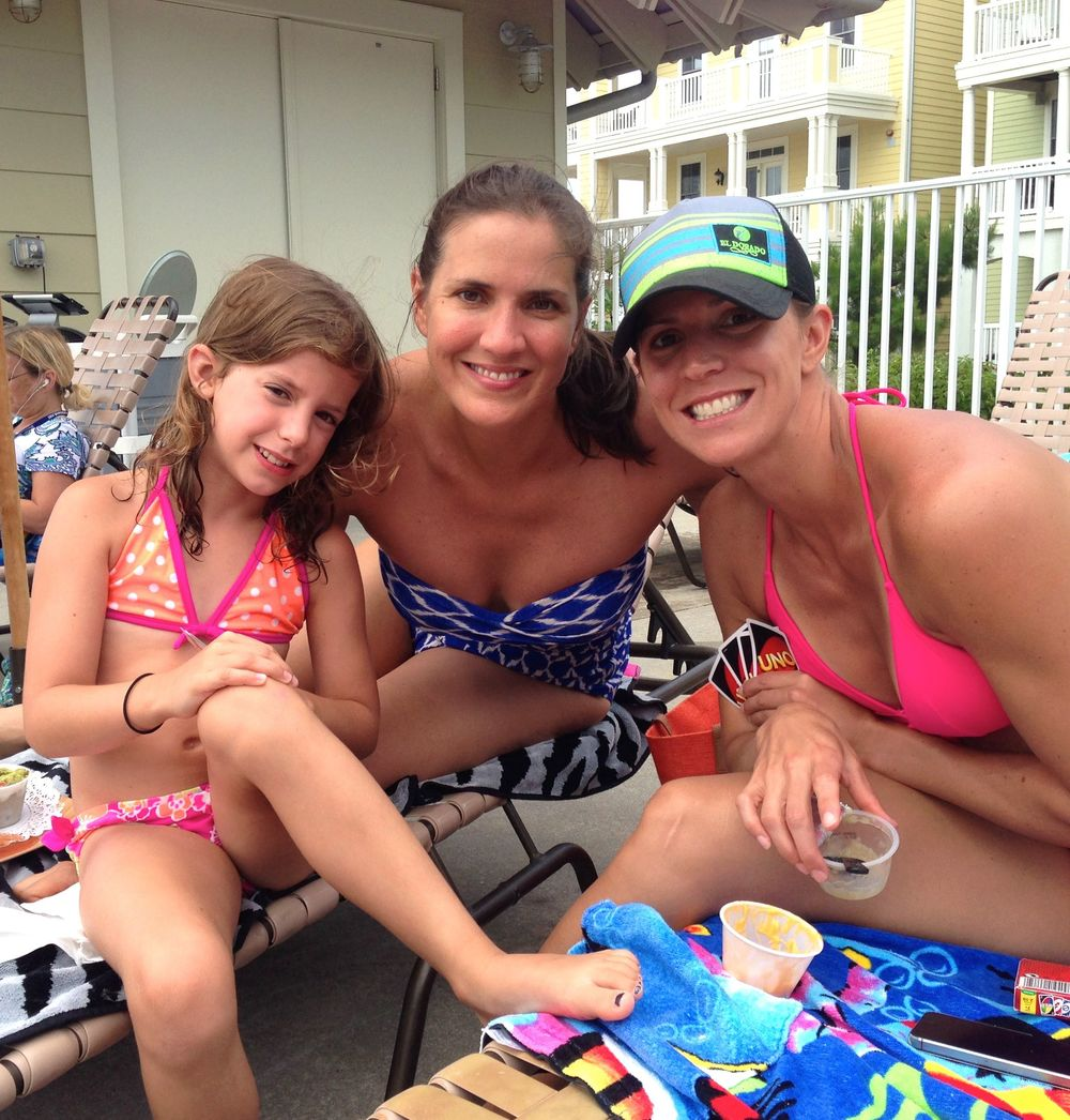 Taylor, Hilary, Whitney at the pool