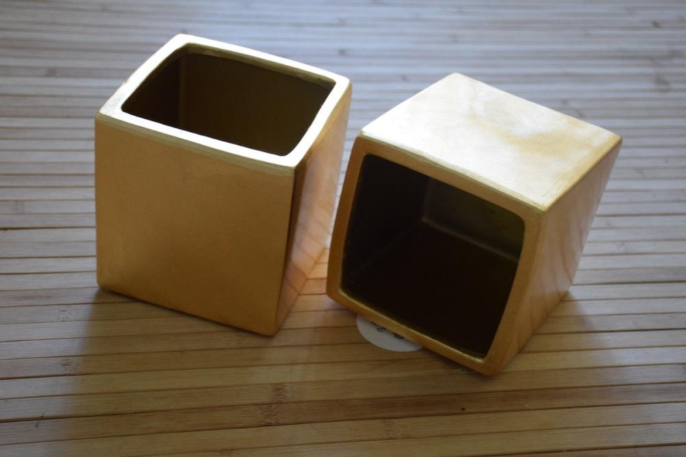 matte gold cubes