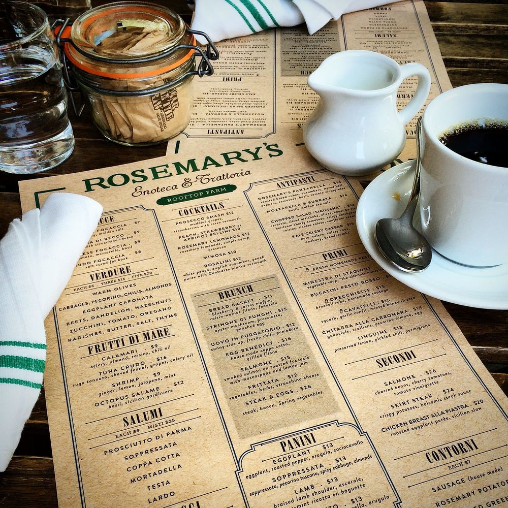 Menu at Rosemary's
