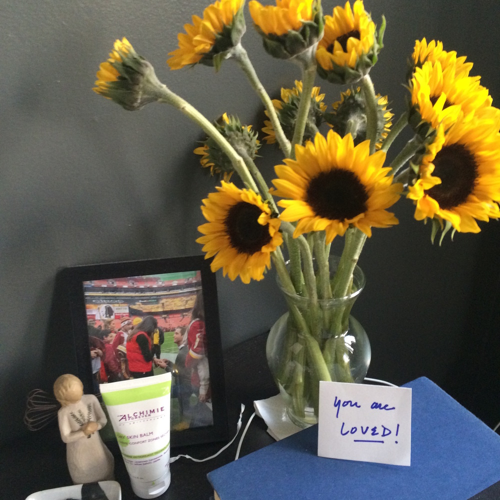 Sunflowers -- my favorites -- from Doug on my bedside table before going in for surgery. Waking up and seeing them each morning started my day off with a smile.