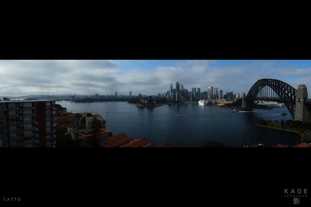 Better sweep panorama in Sydney, Australia with Fuji X-Pro 1 & 18mm f/2 lens. (Taken from a balcony, so no foreground problems this time.)