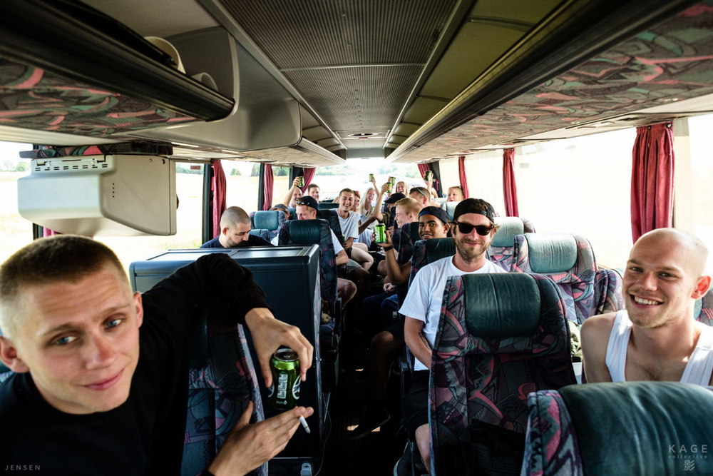 A bus full of artists and crew, on our way to the first gig on the road.