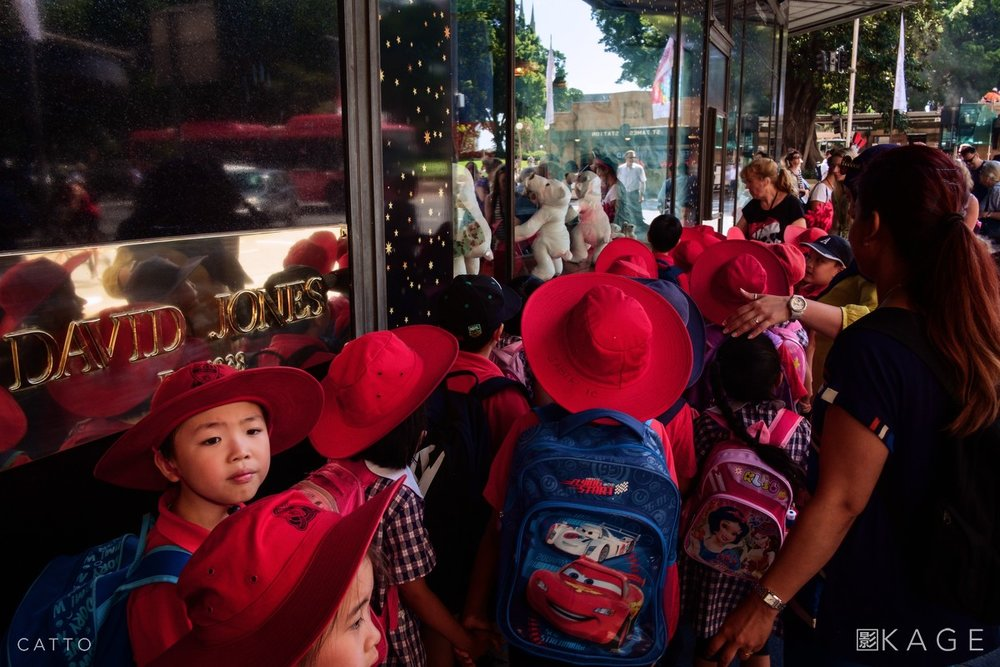 A school trip to see the animatronic Christmas windows in central Sydney.