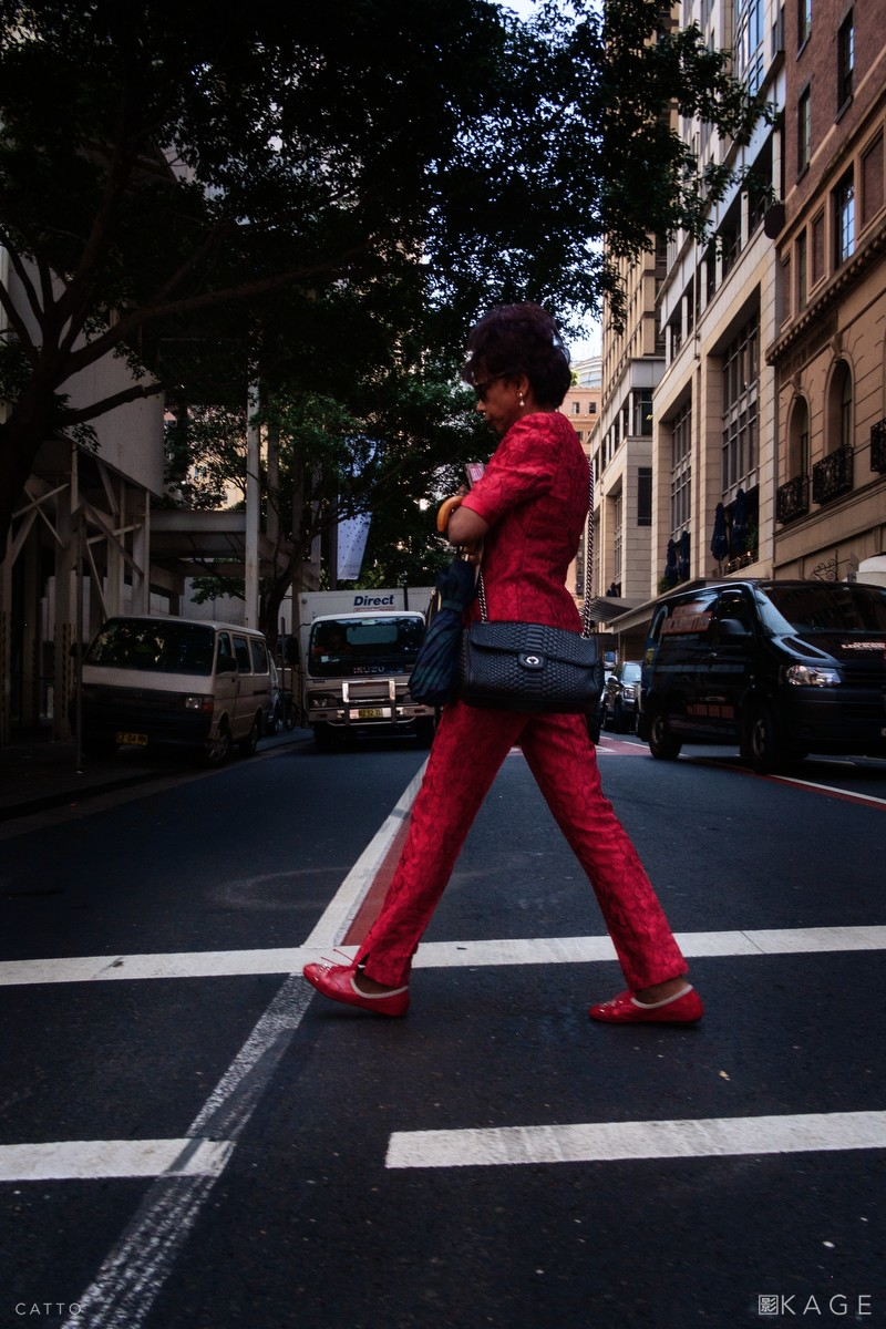 Red silk suit, central Sydney.