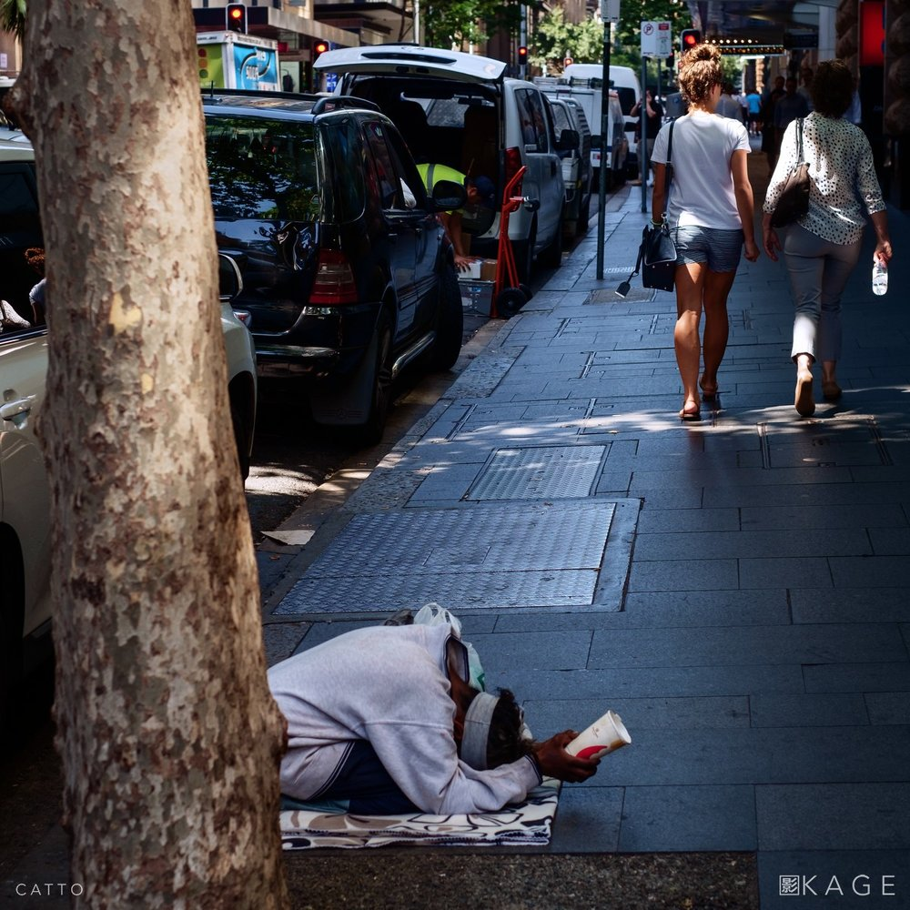 Homeless in central Sydney.