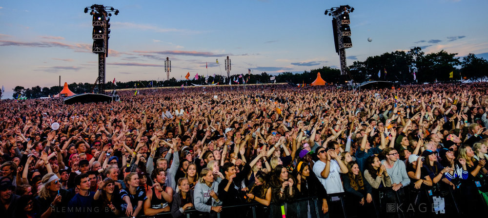 Spectators at Orange Stage at Roskilde Festival in Roskilde, Denmark on June 30, 2016