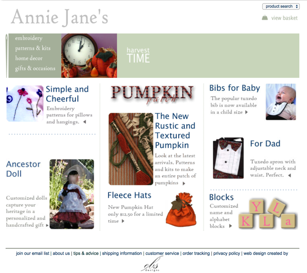 Annie Jane's, my first website in 2003, using tables for layout.