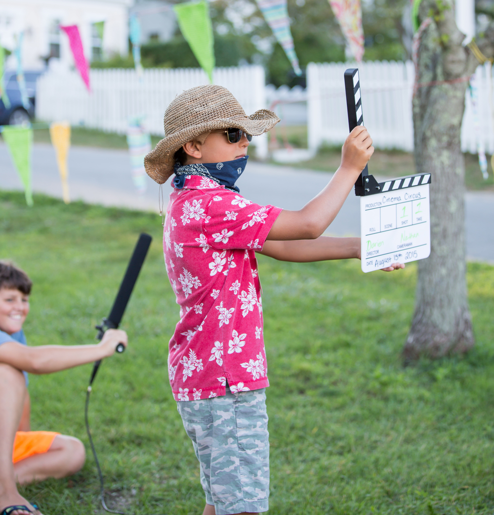 Kids film and star in a short film during the free workshop before the screening of BECOMING BULLETPROOF on August 13, 2015, at Owen Park in Vineyard Haven. Photo by Maria Thibodeau.