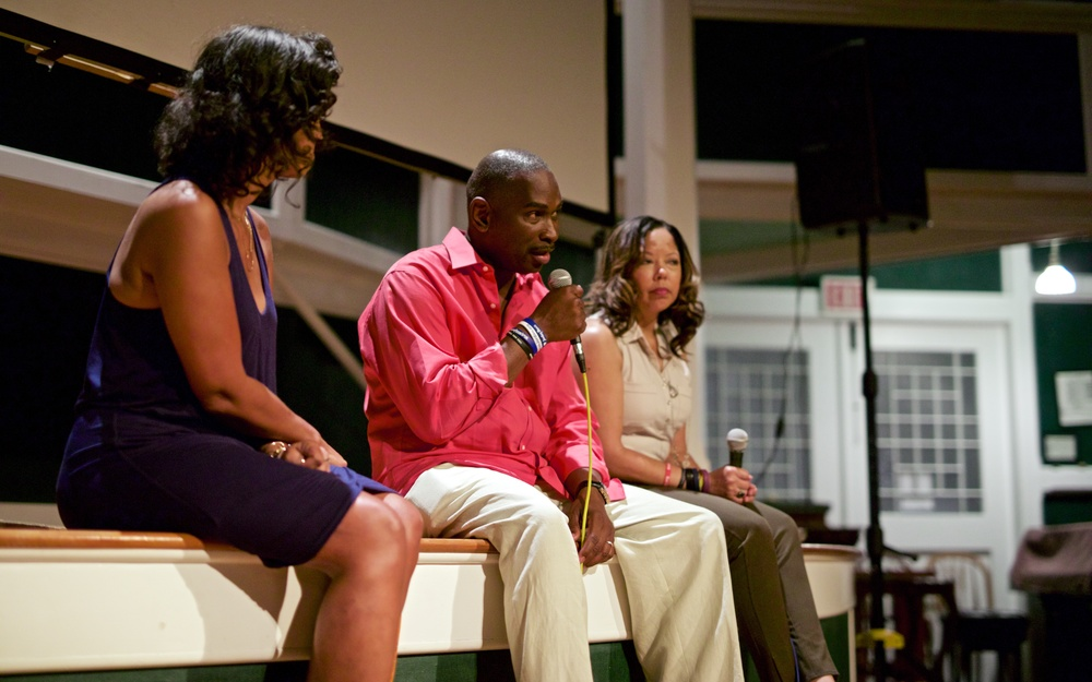 The parents of Jordan Davis, Ron Davis and Lucia McBath, talk with moderator Caroline Graves after the screening of 3 1/2 MINUTES, TEN BULLETS on August 7, 2015, at Union Chapel in Oak Bluffs. Photo by Reece Robinson.