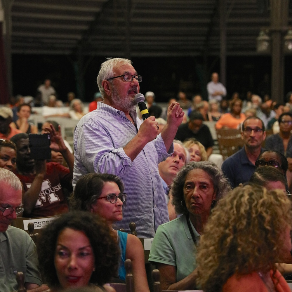 Former Congressman Barney Frank asks a question of director Stanley Nelson, former Black Panther Kathleen Cleaver, and Professor Henry Louis Gates, Jr. after the screening of THE BLACK PANTHERS: VANGUARD OF THE REVOLUTION on August 3, 2015, at the Tabernacle in Oak Bluffs. Photo by Reece Robinson.