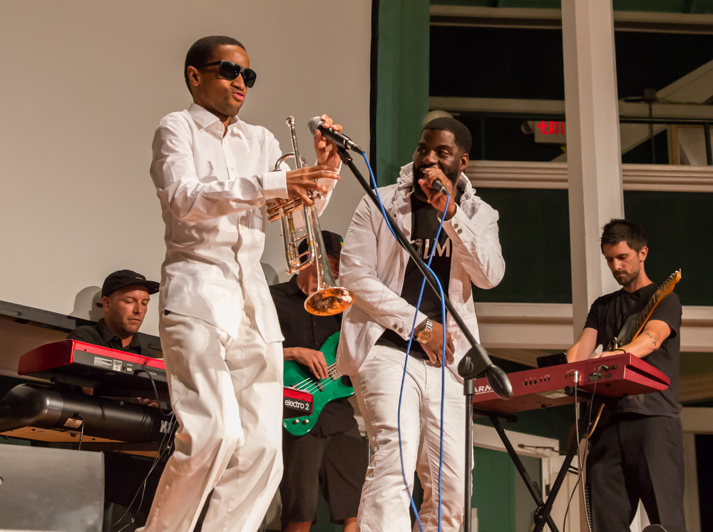 "Che ""Rhymefest"" Smith and T.L. Williams in concert following the screening of IN MY FATHER'S HOUSE on July 20, 2015, at Union Chapel in Oak Bluffs. Photo by Maria Thibodeau."