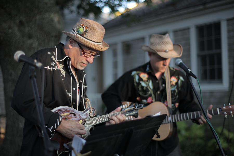 The Pickpocket All-Star String Band plays outside before a Wednesday night screening at the Chilmark Community Center.  Photo by Love Ablan.