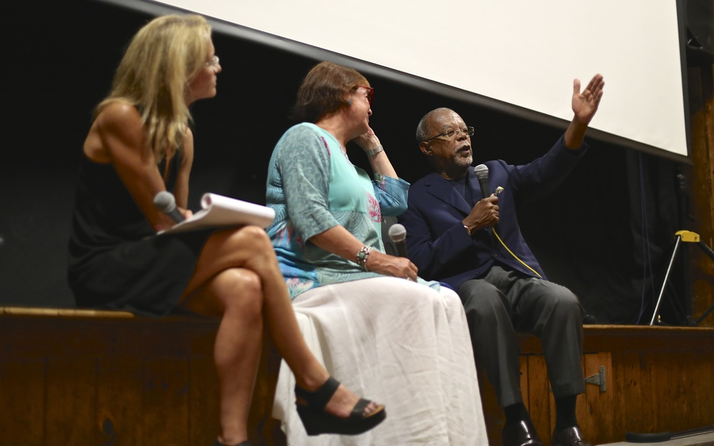 Moderator Alexandra Styron, director Karen Thorsen, and MVFF board member Professor Henry Louis Gates, Jr. share stories and memories of James Baldwin, following the screening of JAMES BALDWIN: THE PRICE OF THE TICKET on July 22, 2015. Photo by Reece Robinson.