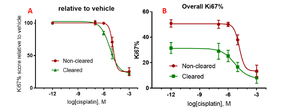 NCI-H2170 spheroids dosed with cisplatin and evaluated for cell proliferation (Ki67 positive cells); A) Dose response relative to vehicle control; B) Absolute cell proliferation score