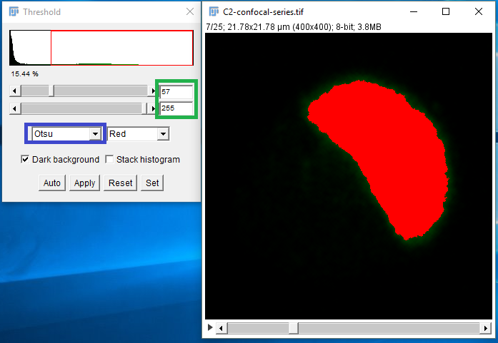 Figure 4. Thresholding dialog box in ImageJ. An automatic threshold method may be selected from the dropdown box (blue outline) which will calculate a threshold value to use for the image. Alternatively, manual thresholding can be done by entering minimum and maximum pixel values (green outline).