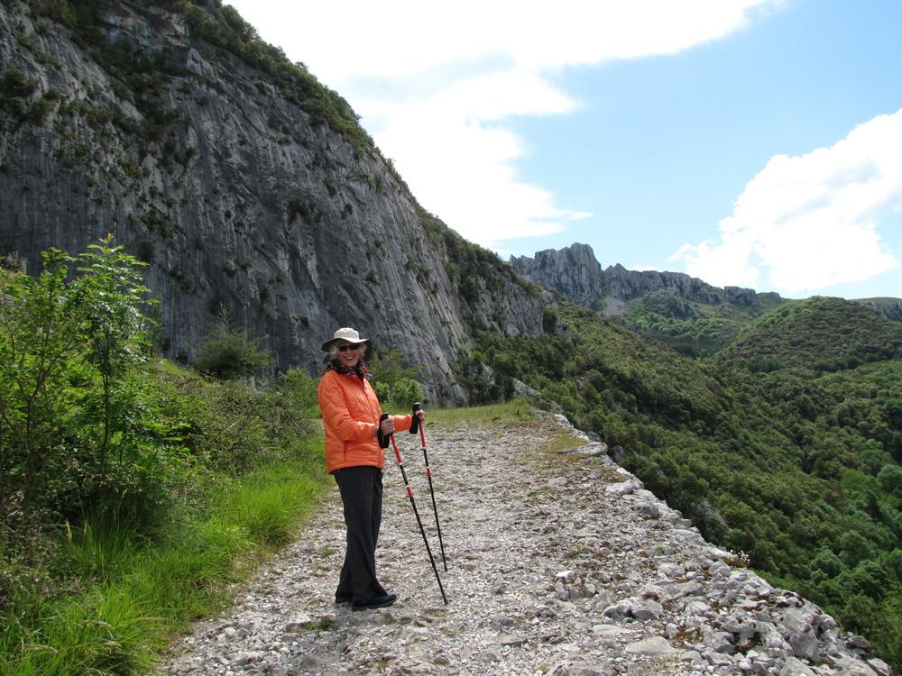 Martha Lewis on the climb to Covalanas.