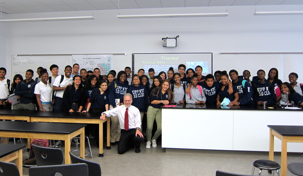 A Leakey Foundation school outreach visit. Professor Dan Lieberman of Harvard with students at KIPP NYC in the Bronx.
