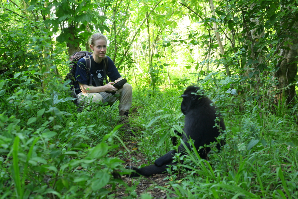Maura Tyrrell and a crested macaque