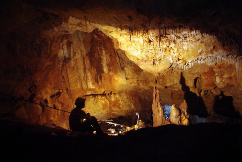 Inside the Manot Cave in Israel's Galilee, where a 55,000-year-old skull sheds new light on human migration patterns. Photo courtesy of: Amos Frumkin / Hebrew University Cave Research Center