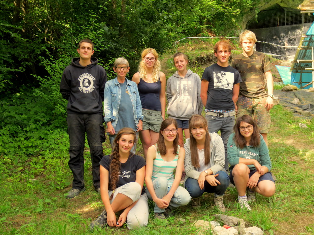 Most of the July team, with project archaeologists Yann Waersegers (back row, first from left), Rebecca Miller (second from left) and assistant Marion Plumer (fourth from left)