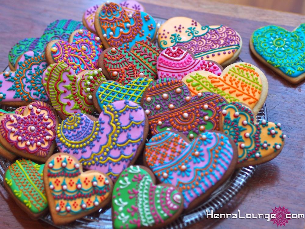 Heart henna cookies