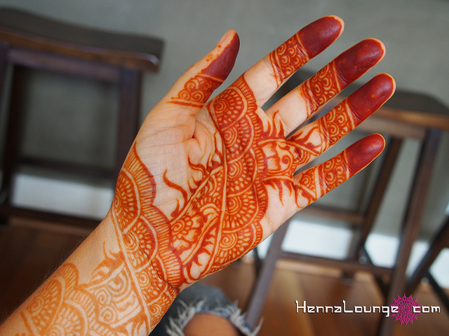 Immediately after picking off the henna paste, the stain is bright ...