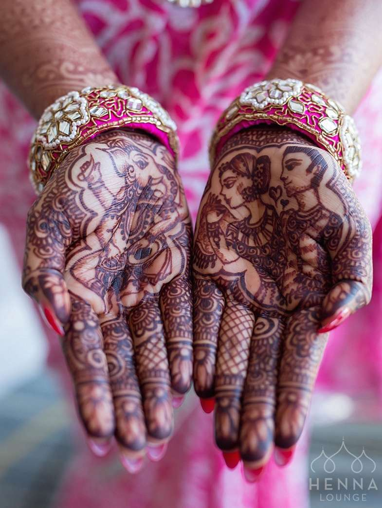 Woah, hand-drawn Ganesha and dulha/dulhan by www.hennalounge.com