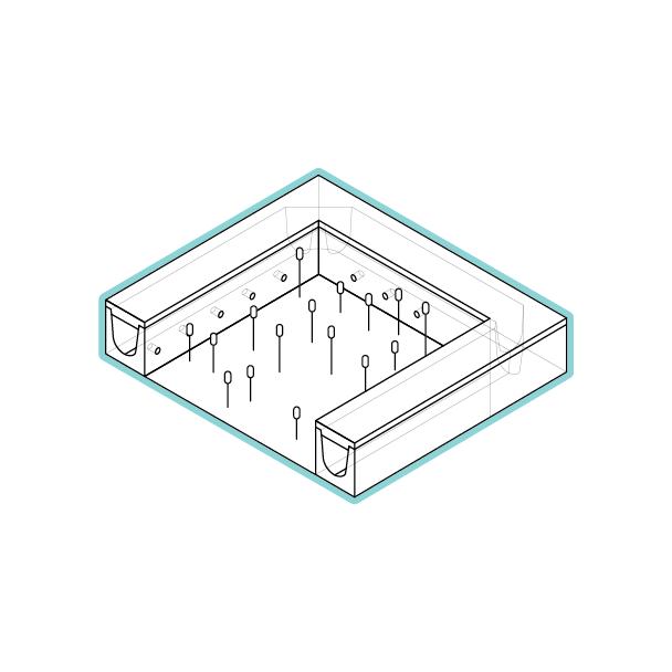 Regentuinen - stap 1: retentieOnze regentuinen worden toegepast voor tijdelijke retentie en voorzuivering van regenwater.Ze kunnen geconfigureerd worden in verschillende vormen, gesloten om regenwater vertraagd af te voeren naar het biofilter, of open om regenwater op een natuurlijke wijze te infiltreren.✓ Vergroenen van een plein of straat✓ Vergroten van de riool afvoercapaciteit✓ Tijdelijk vasthouden van regenwater