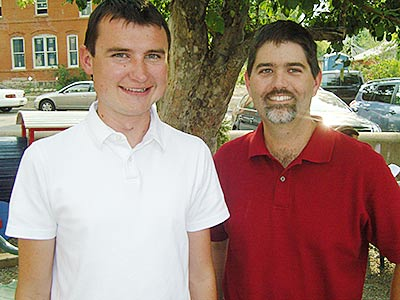 Tyler Benton, left, with Scholarship board member Peter Bucknam, in Golden, Colorado