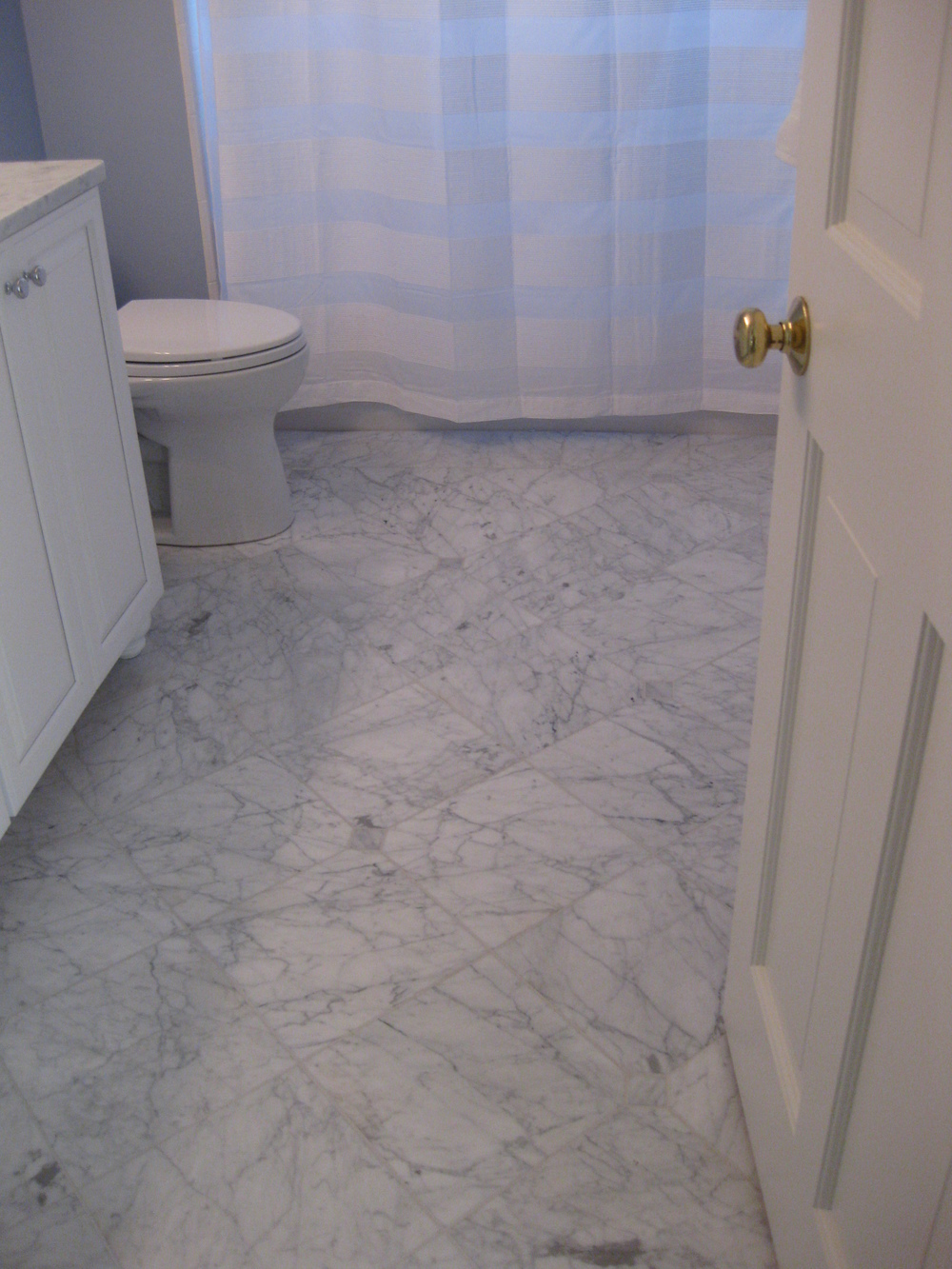 Bathrooms tile installation carrara marble 12 x 12 on the diagonal within a 6 x 12 dailygadgetfo Gallery