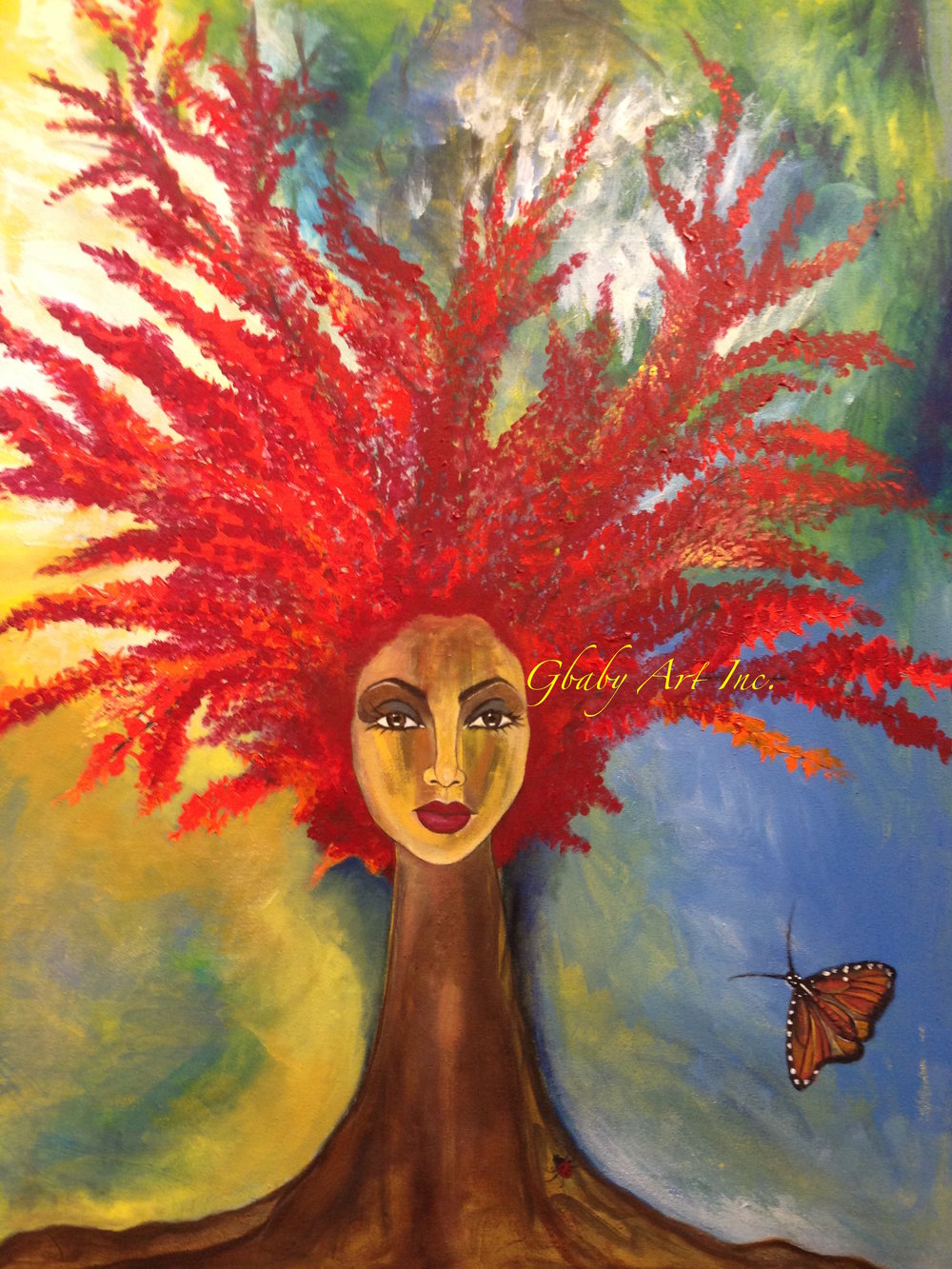 RED AURa : a gbaby original canvas. she is big, bright, and vibrant, and waiting for you.