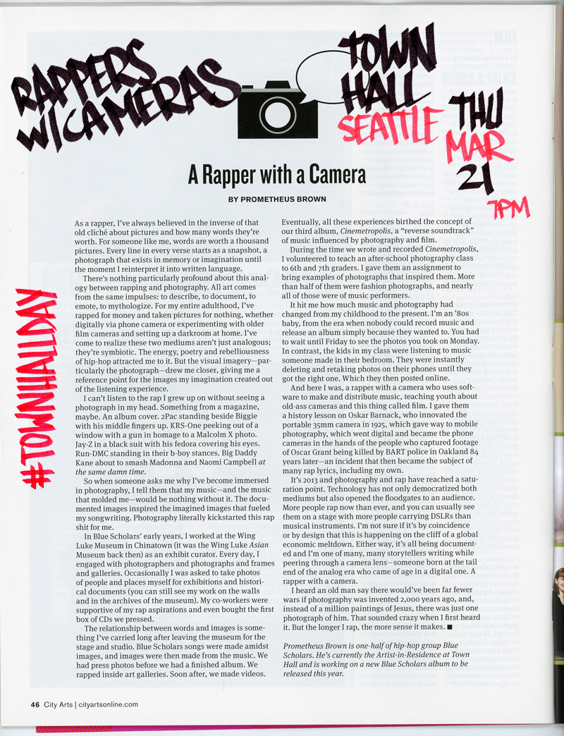 rapperswithcameras: TONIGHT! CLICK PHOTO FOR RSVP IF IT ISN'T FULL YET Geo & Thig talk about their project Rappers W/ Cameras live at Town Hall Seattle tonight. MORE INFO HERE