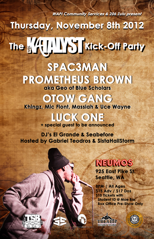prometheusbrown :     Doing a rare solo set this Thursday (Nov. 8) at  Neumos  to support   Katalyst  , a South Seattle-based youth music program that I've seen grow from scratch and have had the privilege to work with on studio sessions and live events at their space in Columbia City!