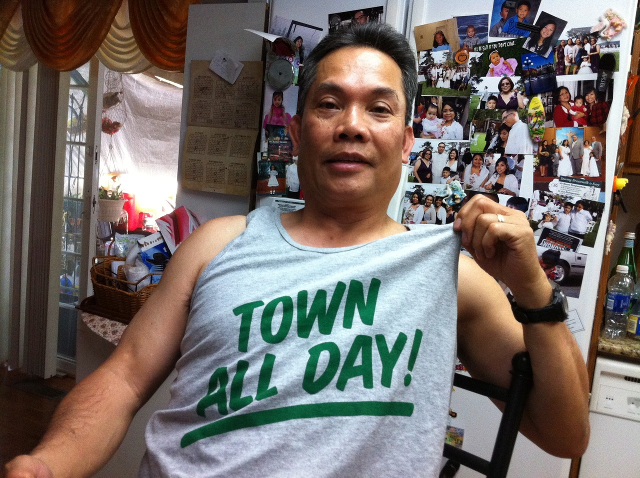 geo's pops rocking the soon-to-be-released town all day tank