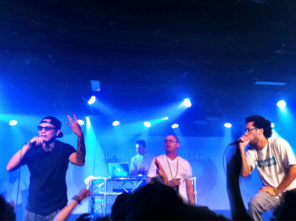 worldbysam: Seattle's finest. Sol and Grynch join fellow Seattle hip hop crew Blue Scholars on stage at Club 560 in Vancouver, BC Last night in Vancouver, BC