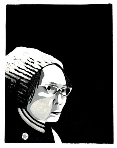 "Happy 90th birthday Yuri Kochiyama! cinemetropolis: Yuri Kochiyama 13"" x 16"" reduction print by Alec Icky Dunn (Justseeds.org)"