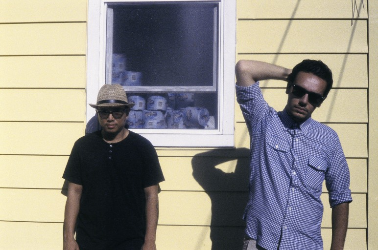 Blue Scholars Geo the Rapper (left) + Sabz the Beat Guy (right)