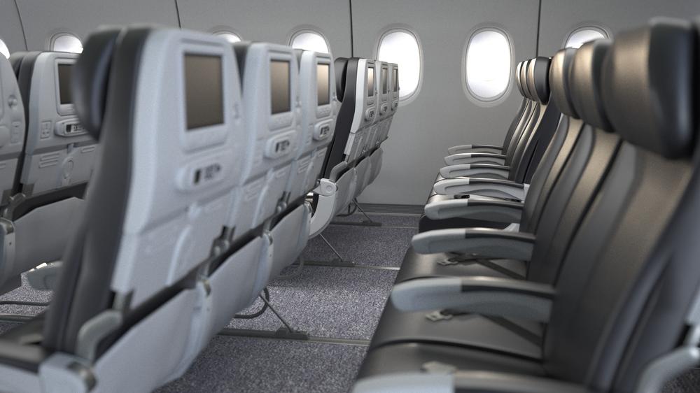 Darstellung eines Airbus A350 Innenraums zur Visualisierung einer Tragekonstruktion für Flugzeuginnenausbauten.