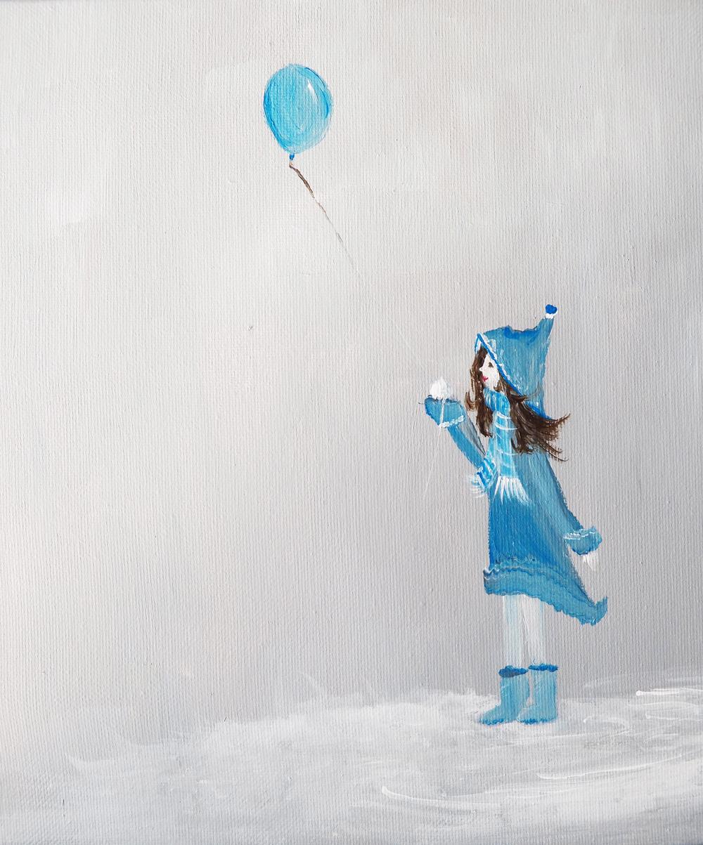 Single Girl with Blue Balloon