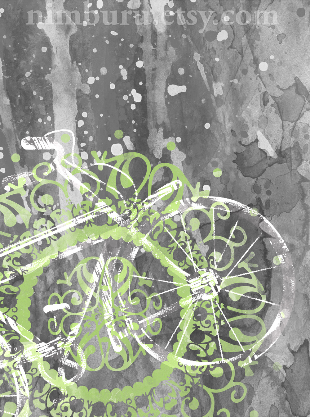 Watercolor Grunge Bicycle Art