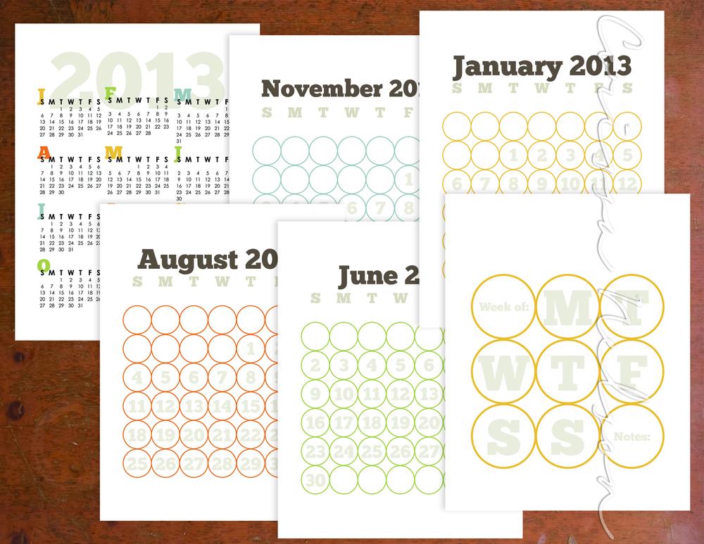 2013 Calendar Planning Pack