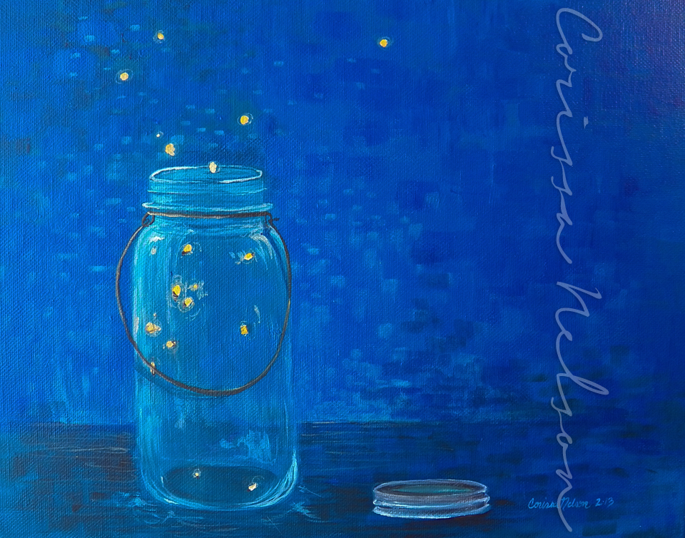 Fireflies in a Mason Jar — Corissa Nelson Art
