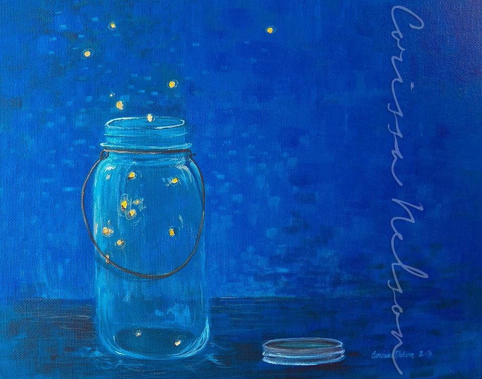 Fireflies in a Mason Jar — Corissa Nelson Art
