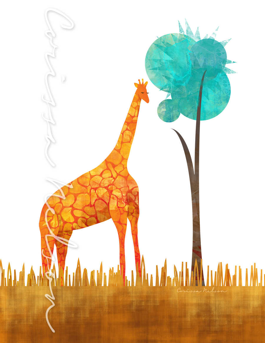 Giraffe Illustration water small