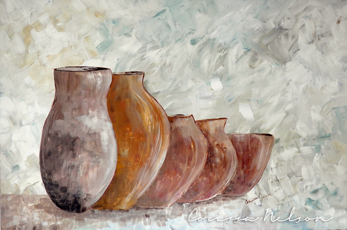 painting of jars of clay, Christian art, pottery, 2 Corinthians 4